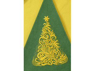 Салфетка сувенирная полукруглая с вышивкой, лен 100 % (Елочка, зеленый)
